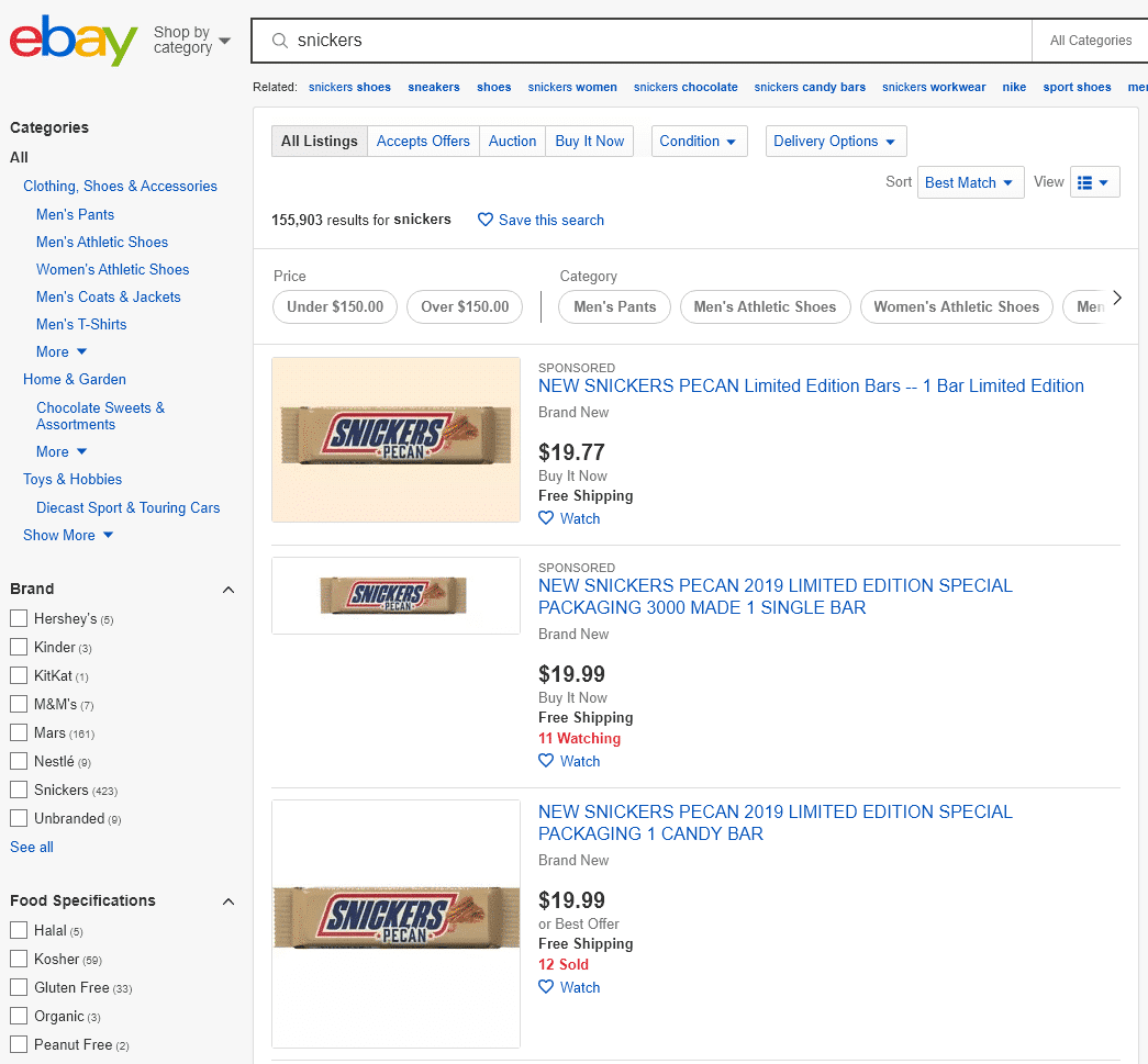 snickers texas pecans for sale on ebay