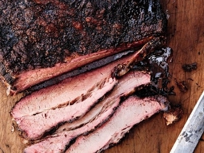 smoked brisket partly sliced