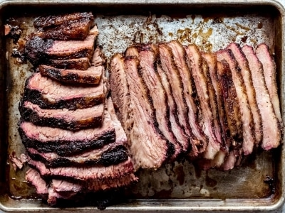 full tray of sliced brisket