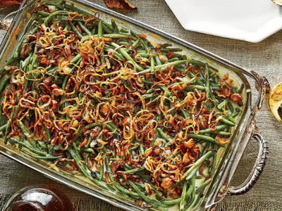 old school green bean casserole over view