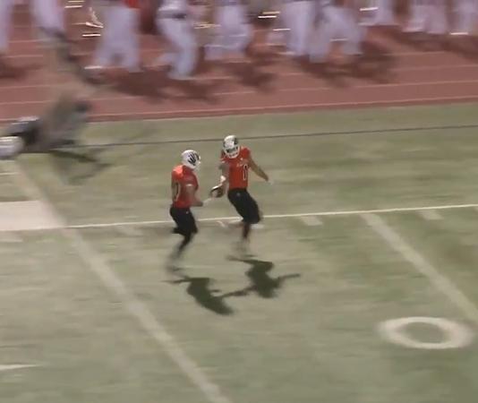ut permian basin linebacker giving football to senior to score touchdown