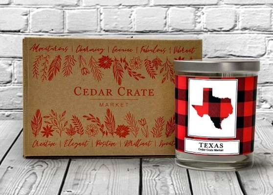 texas plaid candle with box set