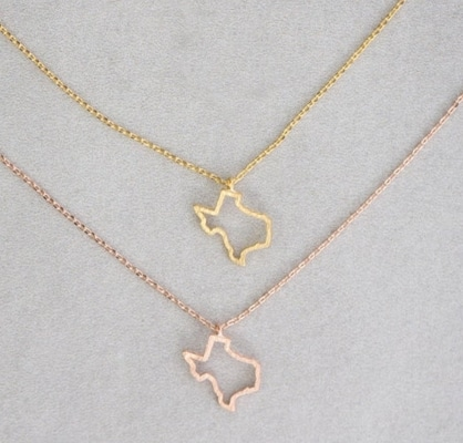 two Texas outline necklaces