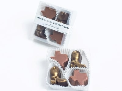 chocolate shaped like Texas and a cowboy boot