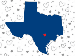 blue Texas over heart background