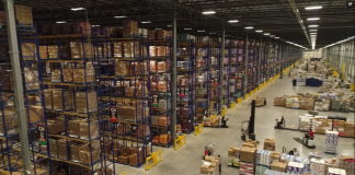 inside a fully stocked H-E-B warehouse