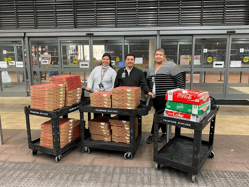 parkland hospital cane rosso pizza donation from seth curry during covid-19