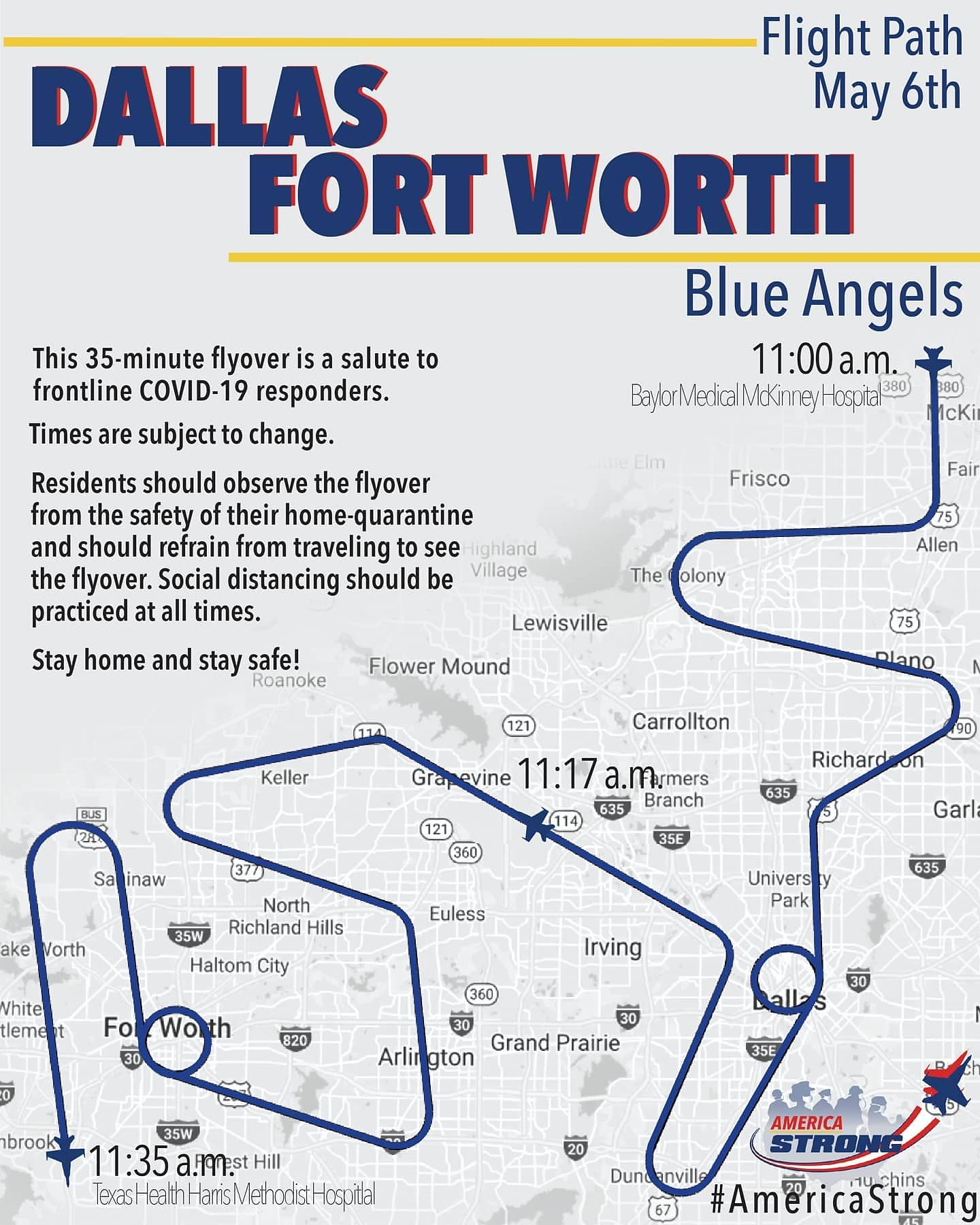 blue angels operation america strong north texas dallas flyover map