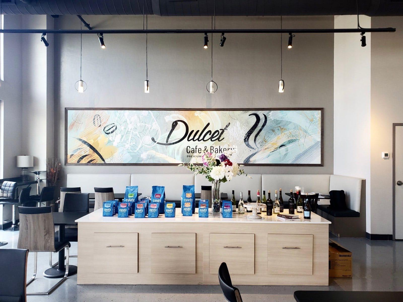 inside of dulcet cafe & bakery in dallas, tx
