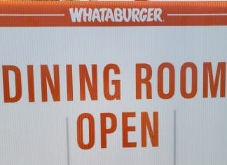 whataburger dining room open sign