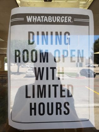 whataburger dining room open paper sign