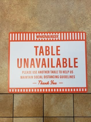 table unavailable sign at whataburger