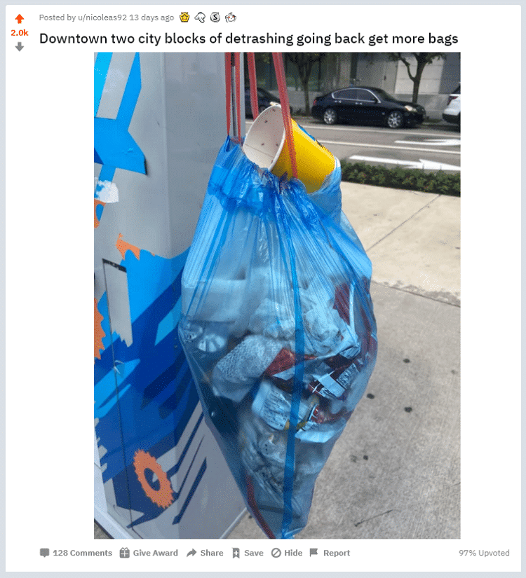 houston trash cleanup reddit post 2020