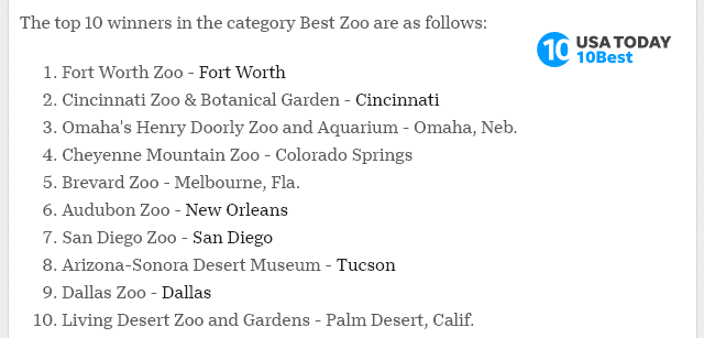usa today list of best zoos 2020