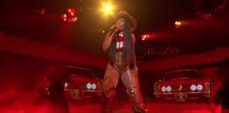 megan thee stallion on jimmy kimmel in a cowboy hat 2019