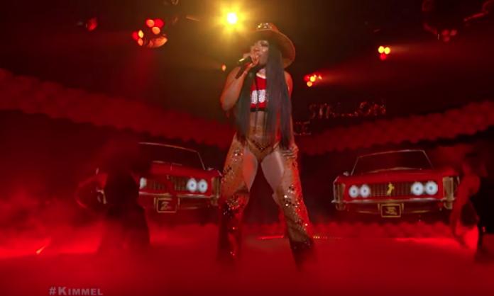 megan thee stallion on jimmy kimmel in a cowboy hat 2019