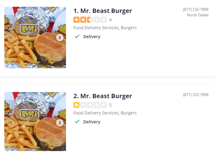 mrbeast burger dallas area yelp ratings screenshot
