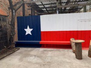 elm st saloon texas flag bench dallas