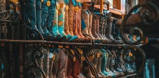 wall of texas cowboy boots
