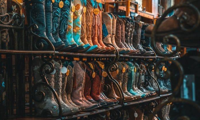 wall of texas cowboy boots
