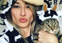 instagram cat lady and her cat in cow costumes