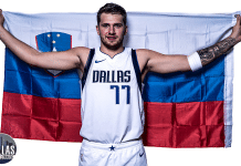dallas mavericks luka doncic with flag