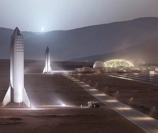 spacex mars base illustration