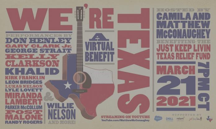 we're texas 2021 virtual benefit concert flyer