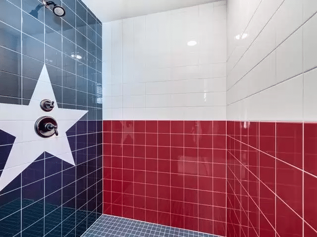 shower tiled to resemble the texas state flag