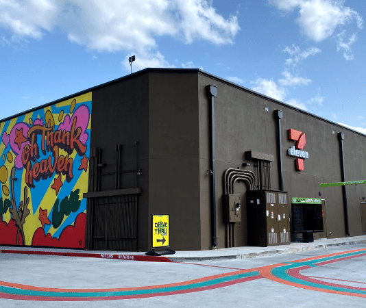 7-Eleven drive thru and mural