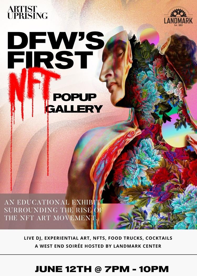artist upriding dallas nft art popup event flyer