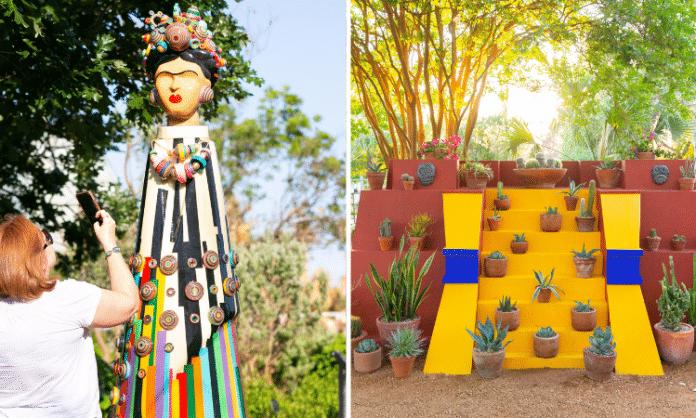frida kahlo art sculpture in sana anotnio botanical gardens mexican inspired art
