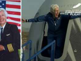 Wally Funk featured image one of her in an aviation suit with an American Flag and one exiting Blue Origin space craft