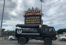 Houston Mattress Mack truck loaded with supplies for hurricane Ida victims outside Gallery Furniture store