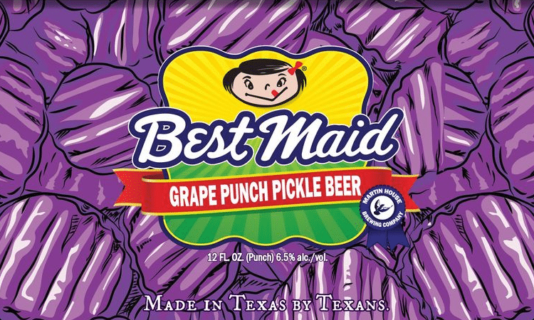 martin house best maid grape punch pickle beer label