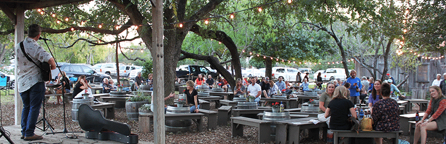 people sitting in a wine garden listening to live music performed on the stage