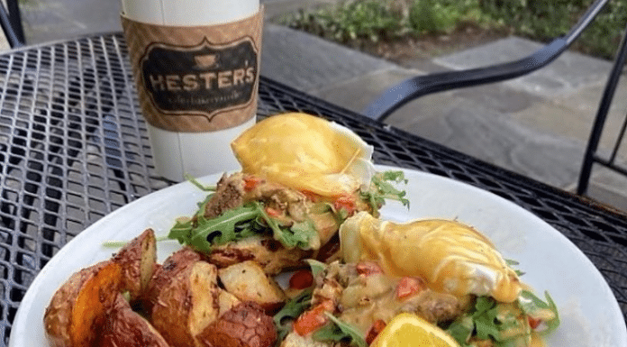 pulled pork benedict dish from hester's cafe in corpus christi