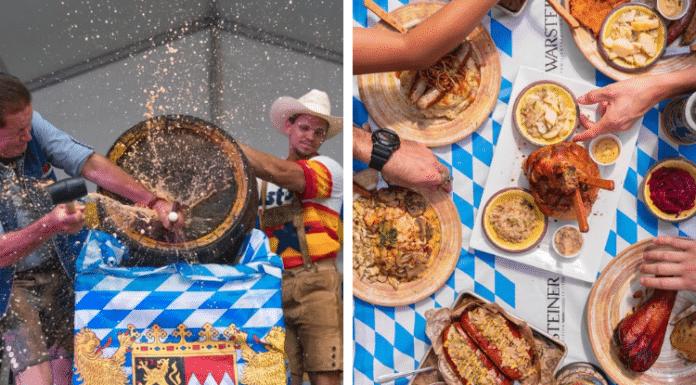 King's Oktoberfest beer keg tap and German food