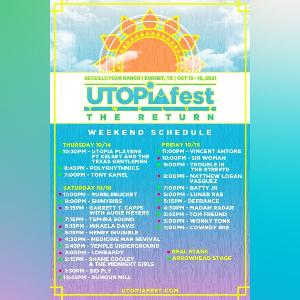 utopiafest weekend lineup schedule